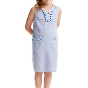 Vineyard Vines Blue Fringe Trim Shift Dress  Sz 14